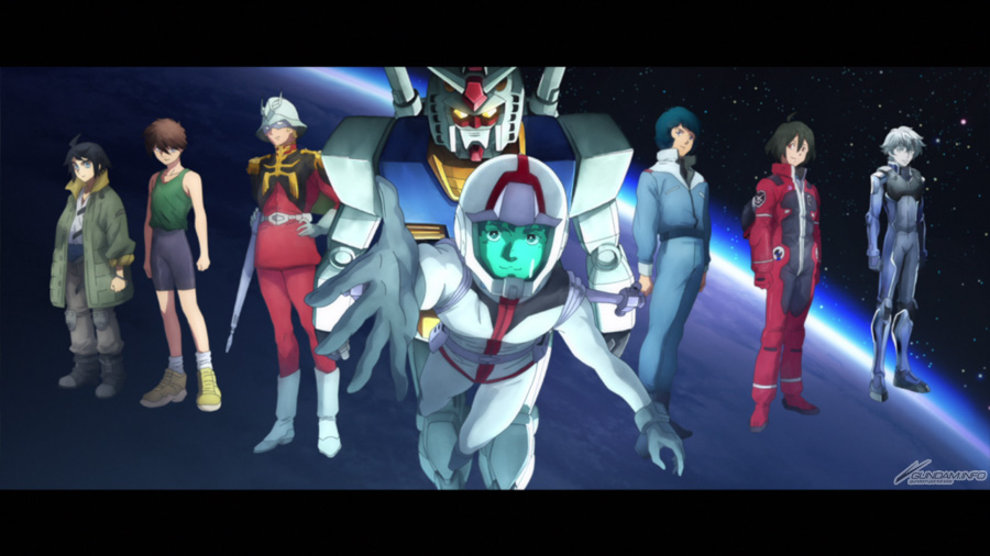 L to R: Mikazuki Augus, Heero Yuy,Char Aznable, Amuro Ray, Kamille Bidan, Bellri Zenam, Setsuna F.Seiei